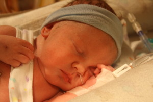 Jaren the day he was born in the NICU